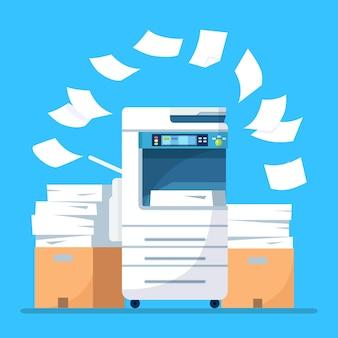 Paperasserie avec carton isolé sur bleu