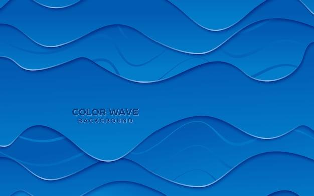 Papercut abstrait fond bleu vague chevauchant mousse au chocolat