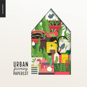Papercut - maison multicouche colorée sur l'agriculture urbaine