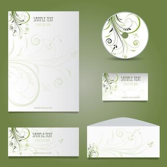 Papeterie d'affaires décoratif avec motif floral