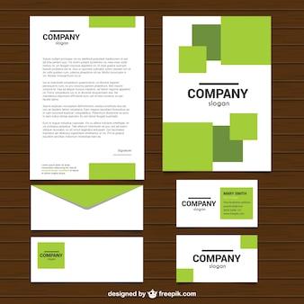 Papeterie d'affaires avec des formes carrées vertes