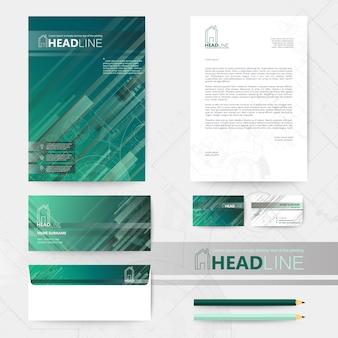 Papeterie commerciale design vert