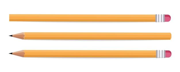 Papeterie - crayons. crayon de bois sur fond blanc. crayon de différentes longueurs