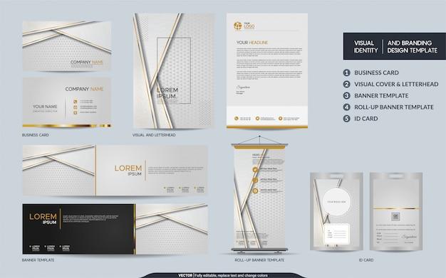 Papeterie de luxe en or blanc simulant l'ensemble et l'identité visuelle de la marque avec des couches de chevauchement abstraites