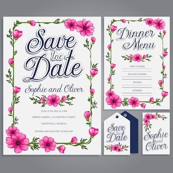 Papeterie de mariage blanc avec des fleurs roses