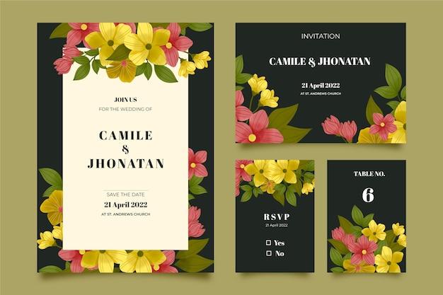 Papeterie de mariage botanique dramatique aquarelle