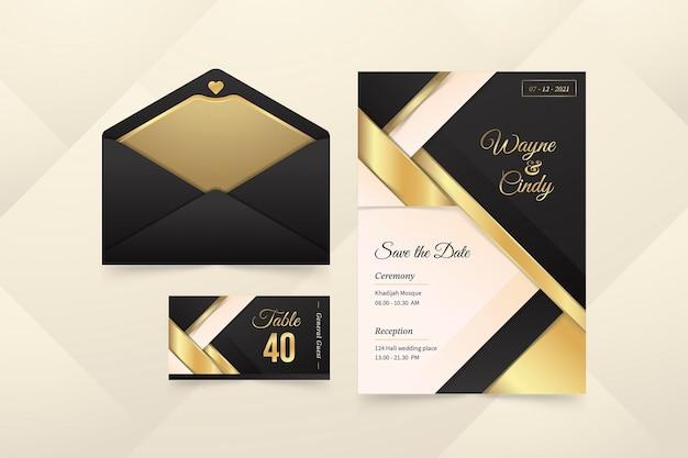 Papeterie de mariage de luxe doré dégradé