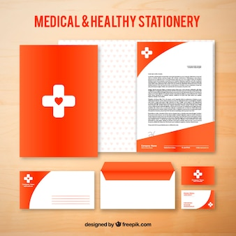Papeterie médicale rouge
