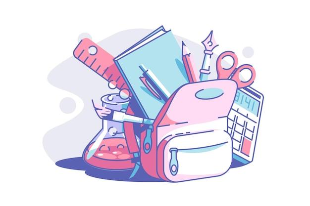 Papeterie pour école vector illustration sac à dos avec règle crayon cahier pinceau ciseaux et calculatrice tube de verre style plat avec concept de temps d'école liquide isolé