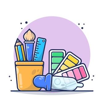 Papeterie avec règle, crayon, pinceau et compte-gouttes, illustration de la palette de couleurs. fournitures scolaires. style de bande dessinée plat