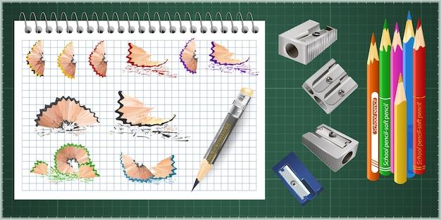 Papeterie scolaire colorée en 3d avec taille-crayon et copeaux
