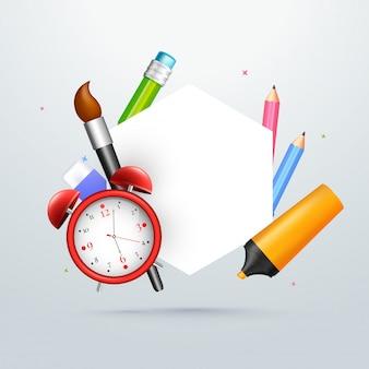 Papeterie scolaire et espace blanc pour votre texte. retour à s