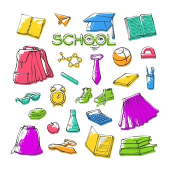 Papeterie de vêtements scolaires. divers symboles de l'éducation élégante pour la conception. illustrations de contour lumineuses avec couleur offset. lettres stylisées d'art dessiné avec le visage.