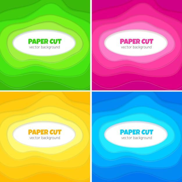 Papier 3d Abstrait Découpé Des Formes Ensemble D'arrière-plans Avec Fond Au Centre Vecteur Premium