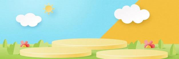 Papier 3d coupé abstrait forme géométrique minimale arrière-plan du modèle. podium de cylindre jaune sur la scène du paysage naturel de la saison estivale. illustration vectorielle.