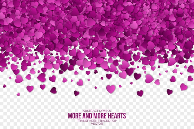 Papier 3d falling hearts abstract background