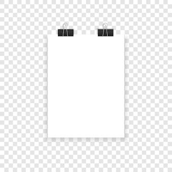 Papier a4 avec des ombres sur un fond transparent.