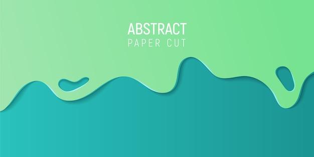 Papier abstrait coupé de fond. bannière avec abstrait 3d avec du papier bleu et vert, coupe les vagues.
