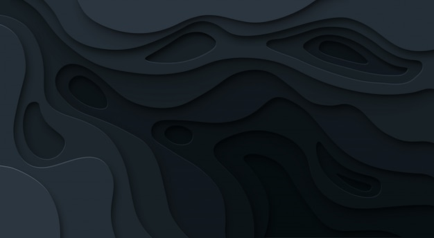 Papier abstrait coupé fond noir. texture de relief sombre de carte topographique avec niveaux courbes, trou et ombre. concept de vecteur
