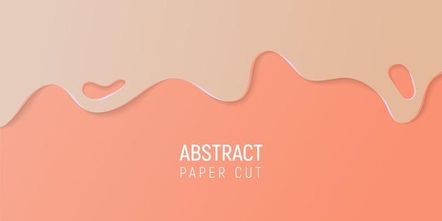 Papier abstrait coupé le fond de slime. bannière avec slime abstrait avec du papier beige et corail, coupe les vagues.