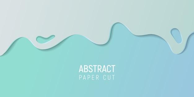 Papier abstrait coupé le fond de slime. bannière avec slime abstrait avec du papier bleu cyan coupe les vagues.