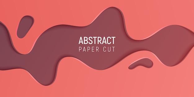 Papier abstrait coupé slime background avec corail et papier brun coupé vagues