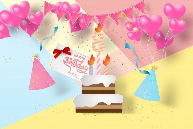Papier art anniversaire 8e vecteur de joyeux anniversaire