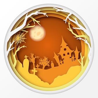 Papier art fond d'halloween avec un cimetière de lune d'imbécile de maison hantée avec des tombes d'arbre mort