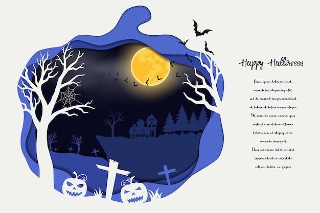 Papier art halloween sur fond bleu