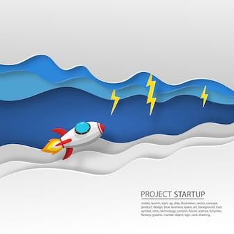 Papier d'art de lancement de fusée spatiale vers le ciel