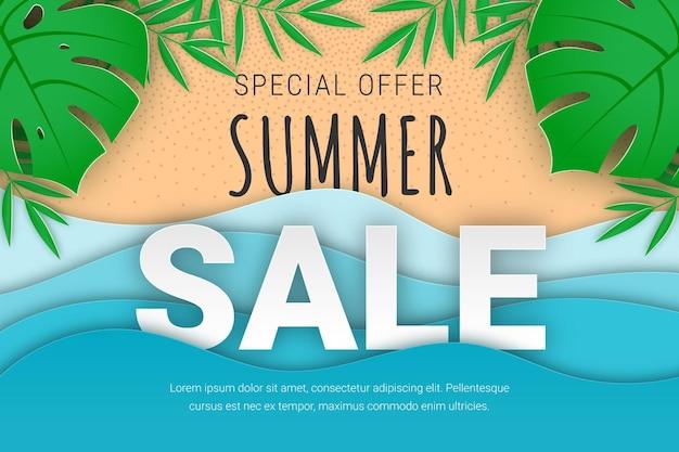 Papier de bannière de vente d'été coupé plage tropicale fond de vecteur avec des feuilles de palmiers tropicaux mer