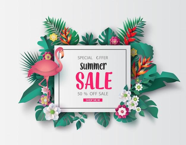 Papier de bannière de vente d'été coupé