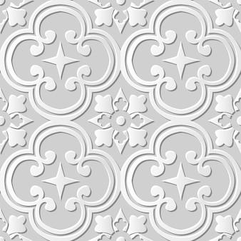 Papier blanc 3d modèle sans couture coupe art courbe ronde kaléidoscope fleur croix
