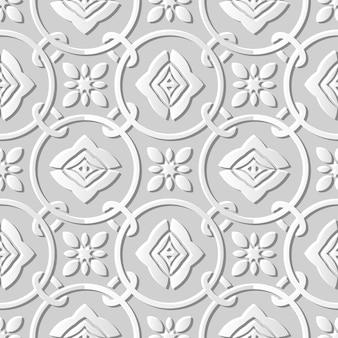 Papier blanc 3d modèle sans couture coupé art rond cercle croix fleur chaîne