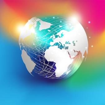 Papier blanc coupe la carte du monde de style sur la sphère de maille abstraite