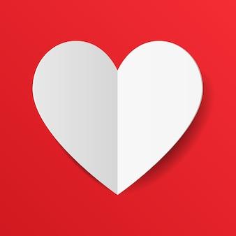Papier blanc coupé coeur d'amour pour les cartes d'invitation d'amour, la saint-valentin.