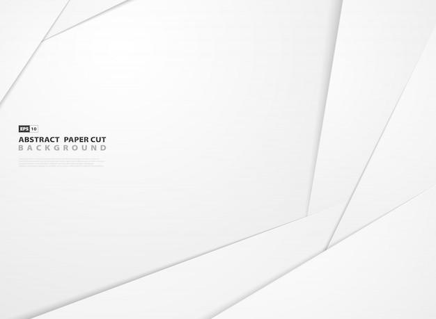 Papier blanc dégradé abstrait coupé fond forme design.