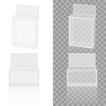Papier blanc transparent réaliste ou boîte d'emballage en plastique. vecteur