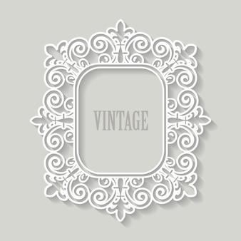 Papier cadre en filigrane découpé. design vintage baroque