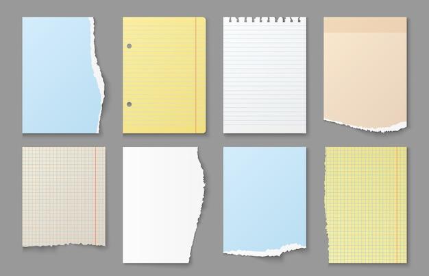 Papier de cahier déchiré. bords déchirés des feuilles de notes, messages en papier blanc de couleur et autocollants de rappel différents ensembles de formes de listes de bandes de papier