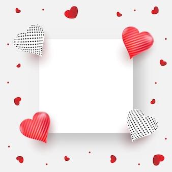 Papier carré vide ou cadre décorer avec des coeurs brillants sur fond blanc
