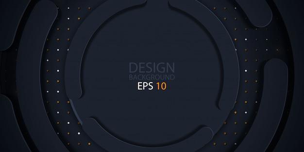 Papier de cercle noir coupé fond avec des paillettes