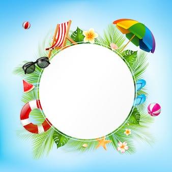 Papier cercle vierge et vacances d'été, élément d'été