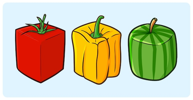 Papier de cloche de tomate en forme de cube drôle et pastèque dans un style simple doodle
