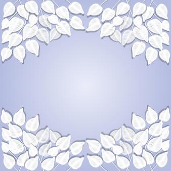Papier coupé fond feuilles blanches cadre