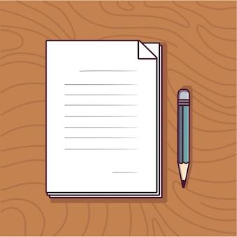 Papier et crayon icône illustration éducation icône concept avec dessin animé plat
