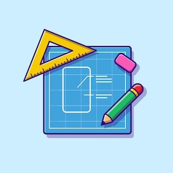 Papier à croquis avec dessin animé de crayon, règle et gomme