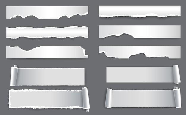 Papier déchiré blanc. étiquette et cadre déchirés pour le web et l'impression.