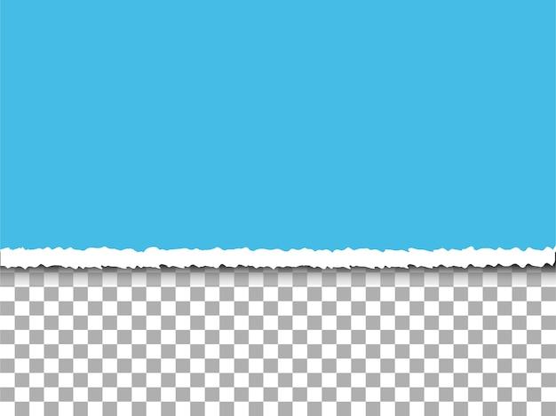 Papier déchiré bleu sur fond de transparence