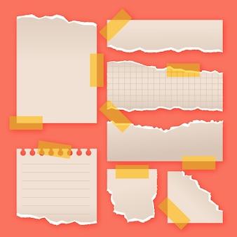 Papier déchiré dans la collection de différentes formes